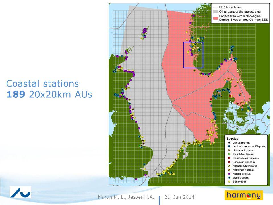 21. Jan 20149Martin M. L., Jesper H.A. Coastal stations 189 20x20km AUs