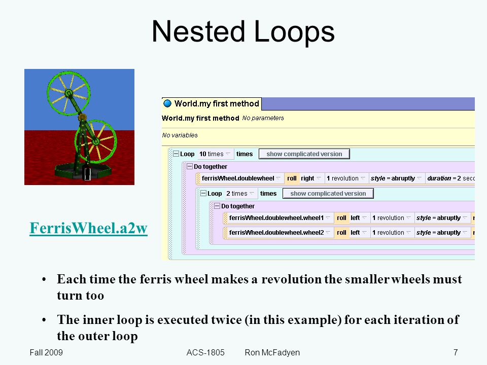 Fall 2009ACS-1805 Ron McFadyen8 While A while loop is executed as long as some condition is true – also called a conditional loop or indefinite loop) Used in situations where we don't know how many times a loop should execute, but we do know the condition for it to execute.