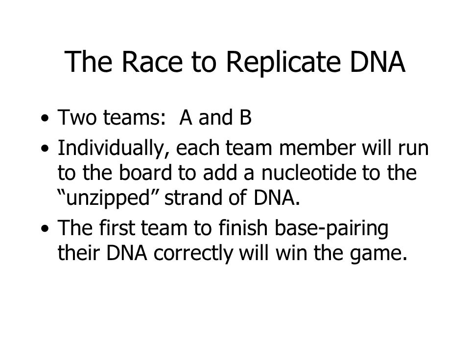 "The Race to Replicate DNA Two teams: A and B Individually, each team member will run to the board to add a nucleotide to the ""unzipped"" strand of DNA."
