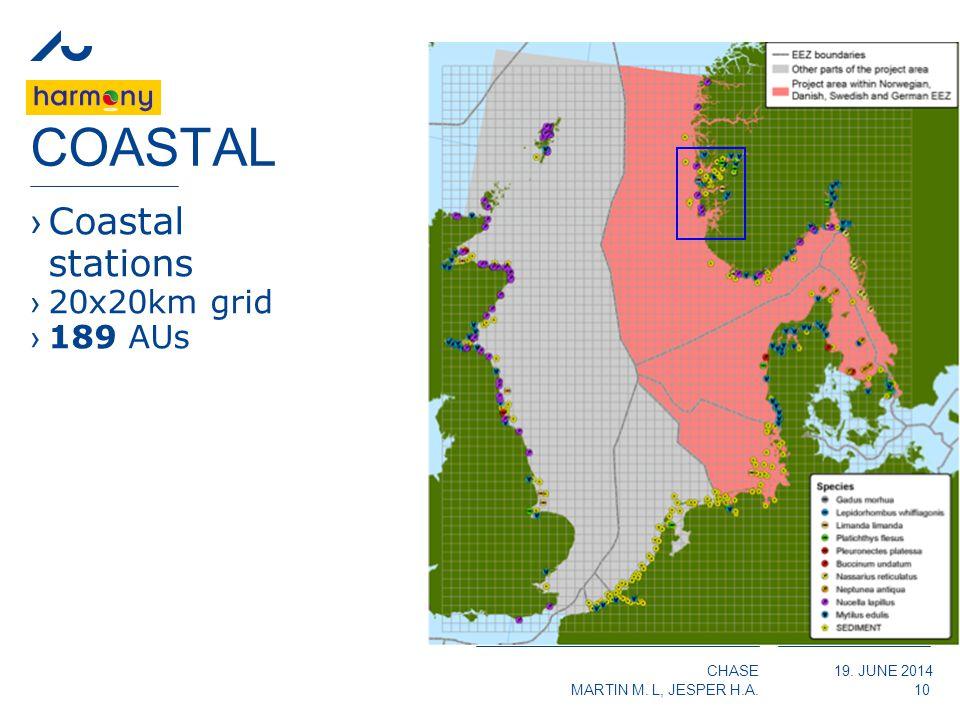 CHASE MARTIN M. L, JESPER H.A. 19. JUNE 2014 COASTAL ›Coastal stations ›20x20km grid ›189 AUs 10