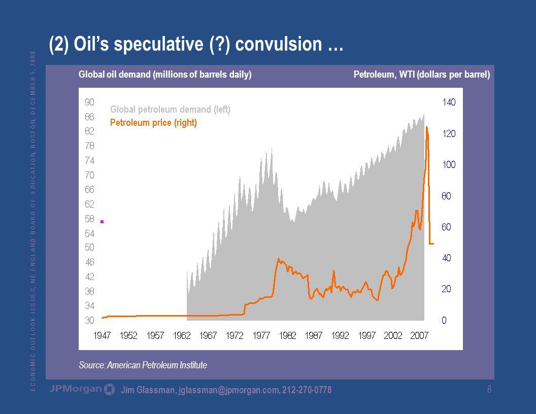 E C O N O M I C O U T L O O K I S S U E S, N E E N G L A N D B O A R D O F E D U C A T I O N, B O S T O N, D E C E M B E R 5, 2 0 0 8 Jim Glassman, jglassman@jpmorgan.com, 212-270-0778 8 (2) Oil's speculative ( ) convulsion … Global oil demand (millions of barrels daily) Petroleum, WTI (dollars per barrel) Source: American Petroleum Institute