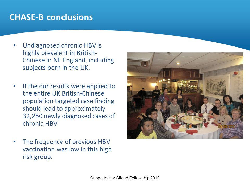 Undiagnosed chronic HBV is highly prevalent in British- Chinese in NE England, including subjects born in the UK. If the our results were applied to t