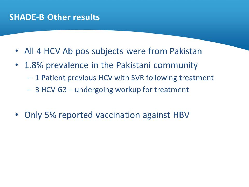 SHADE-B Other results All 4 HCV Ab pos subjects were from Pakistan 1.8% prevalence in the Pakistani community – 1 Patient previous HCV with SVR follow