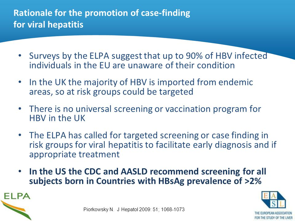 Rationale for the promotion of case-finding for viral hepatitis Surveys by the ELPA suggest that up to 90% of HBV infected individuals in the EU are u