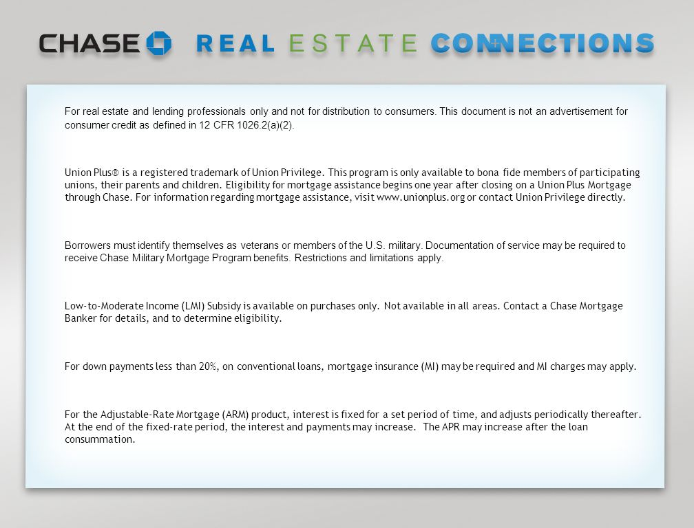 Page 17 For real estate and lending professionals only and not for distribution to consumers.