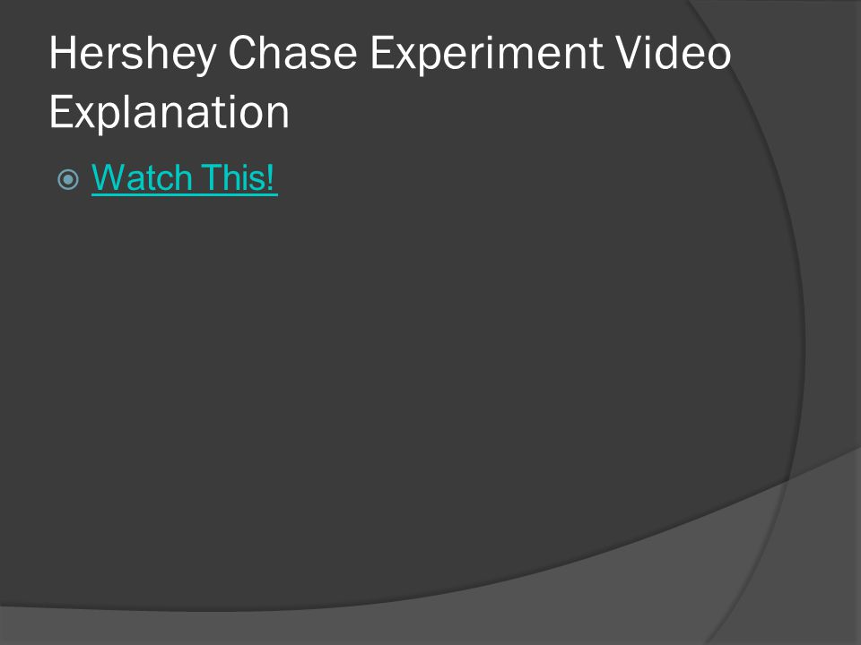 Hershey Chase Experiment Video Explanation  Watch This! Watch This!