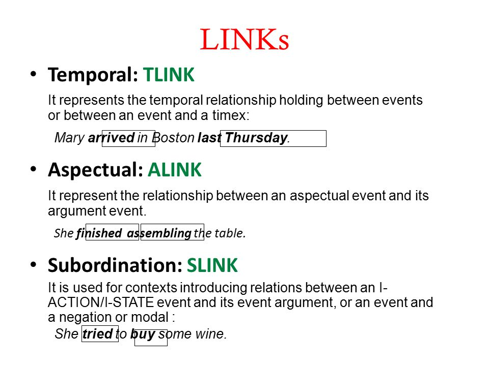 LINKs Temporal: TLINK It represents the temporal relationship holding between events or between an event and a timex: Mary arrived in Boston last Thursday.