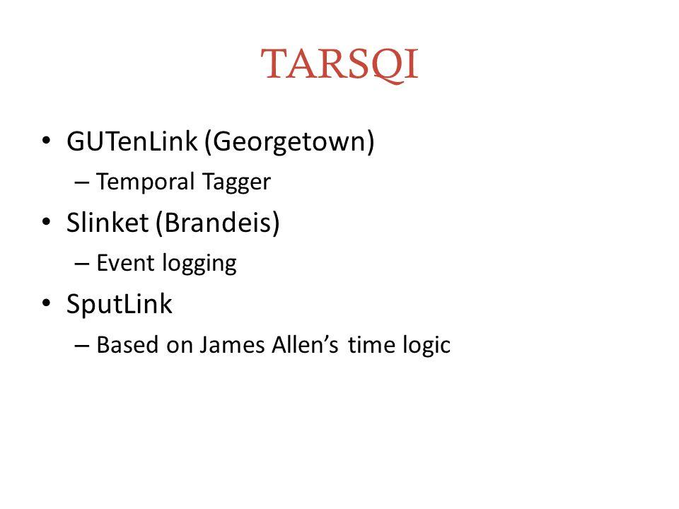 TARSQI GUTenLink (Georgetown) – Temporal Tagger Slinket (Brandeis) – Event logging SputLink – Based on James Allen's time logic