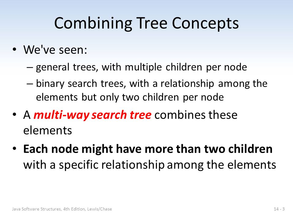 2-3 Trees Rotations may not solve everything – the height of the tree may have to be reduced Removing 45: 14 - 14Java Software Structures, 4th Edition, Lewis/Chase