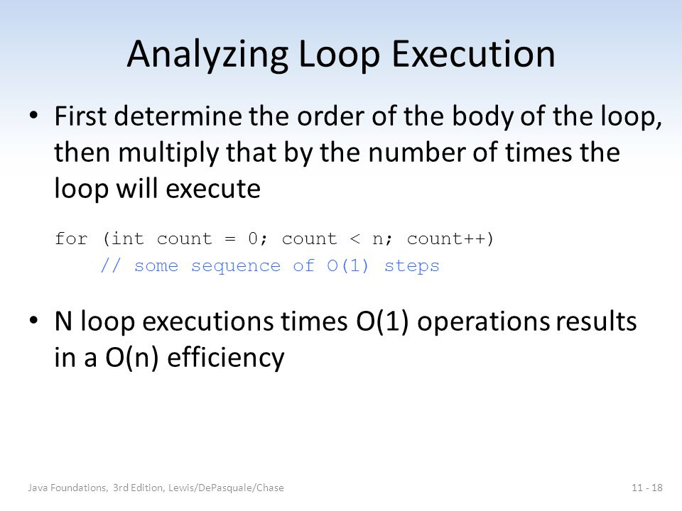 Analyzing Loop Execution First determine the order of the body of the loop, then multiply that by the number of times the loop will execute for (int count = 0; count < n; count++) // some sequence of O(1) steps N loop executions times O(1) operations results in a O(n) efficiency Java Foundations, 3rd Edition, Lewis/DePasquale/Chase11 - 18