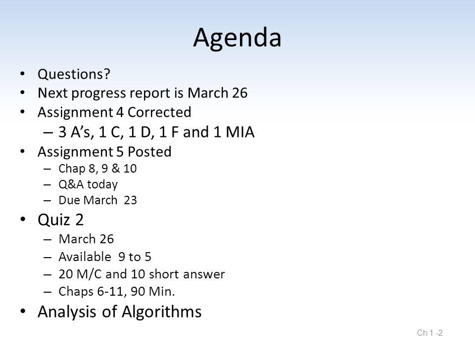 Ch 1 -2 Agenda Questions.