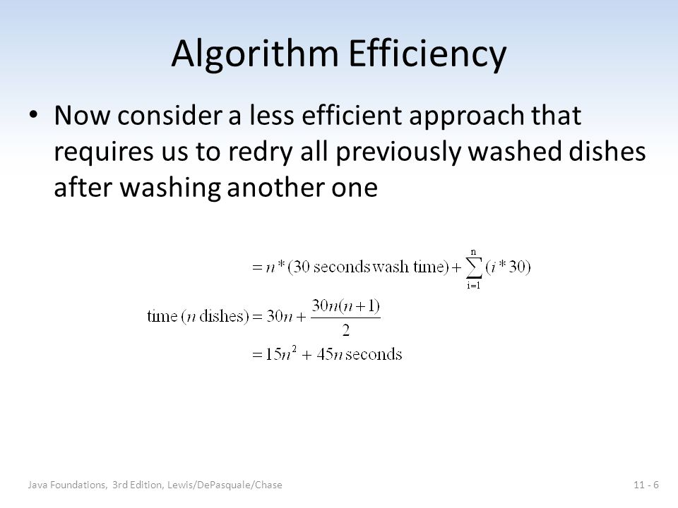 Algorithm Efficiency Now consider a less efficient approach that requires us to redry all previously washed dishes after washing another one Java Foundations, 3rd Edition, Lewis/DePasquale/Chase11 - 6