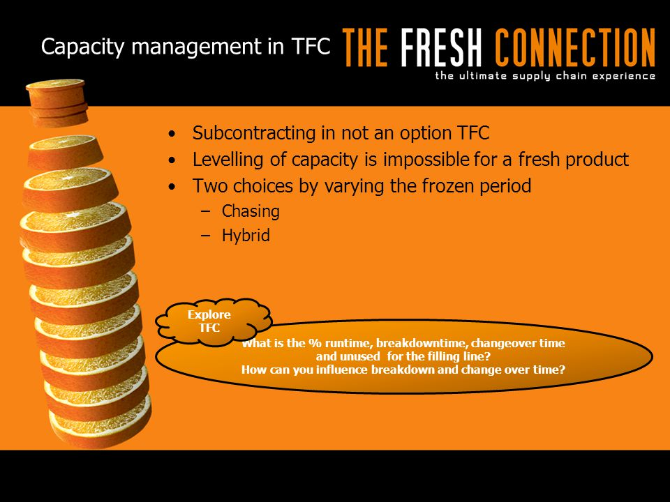 Capacity management in TFC Subcontracting in not an option TFC Levelling of capacity is impossible for a fresh product Two choices by varying the froz