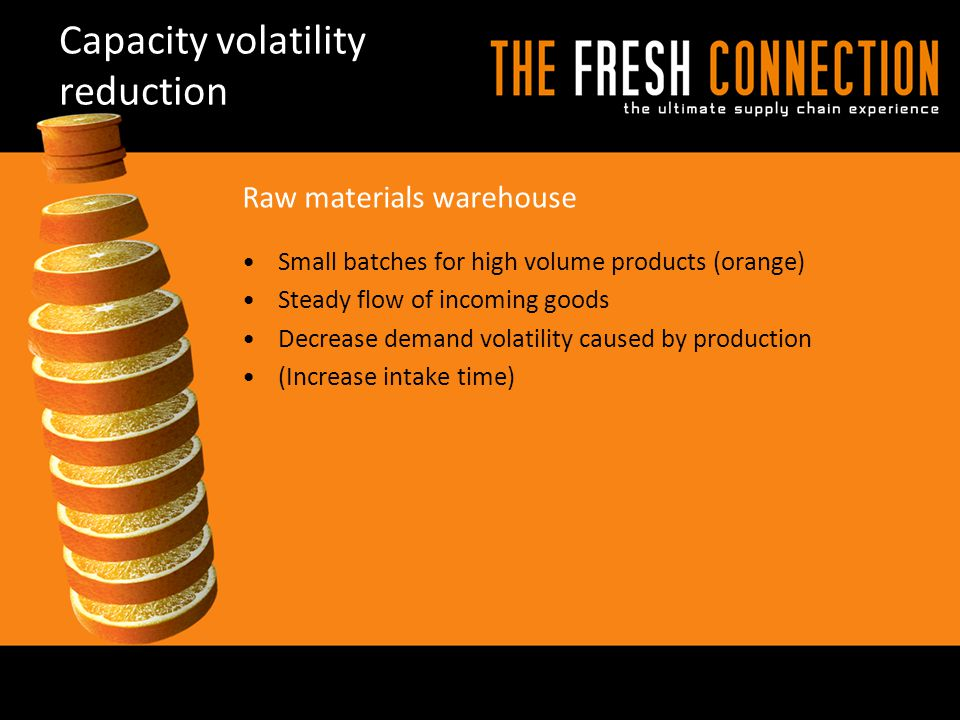 Capacity volatility reduction Small batches for high volume products (orange) Steady flow of incoming goods Decrease demand volatility caused by produ