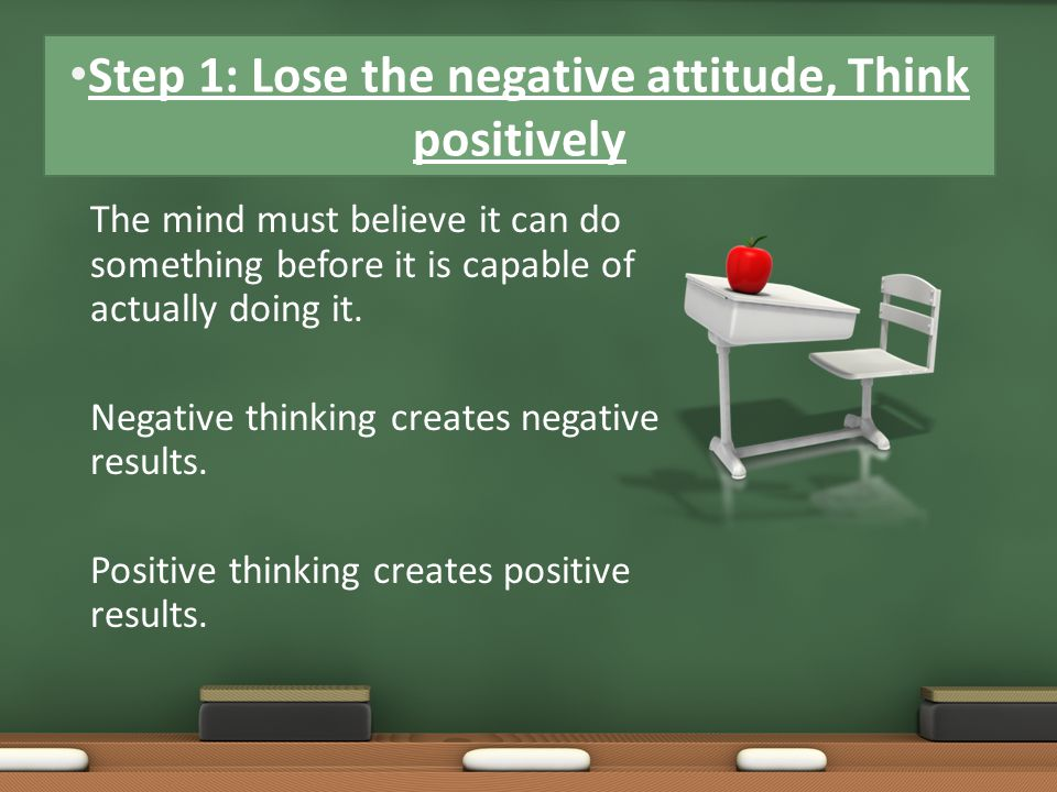 The mind must believe it can do something before it is capable of actually doing it. Negative thinking creates negative results. Positive thinking cre