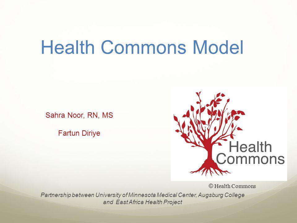 Health Commons Model Sahra Noor, RN, MS Fartun Diriye Partnership between University of Minnesota Medical Center, Augsburg College and East Africa Health Project © Health Commons