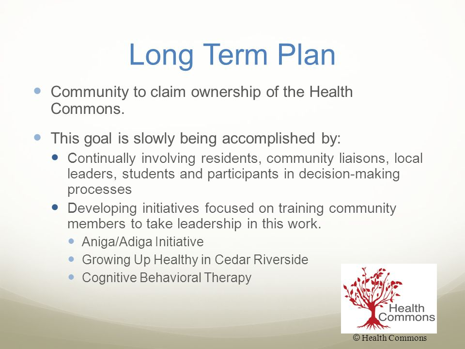 Long Term Plan Community to claim ownership of the Health Commons.