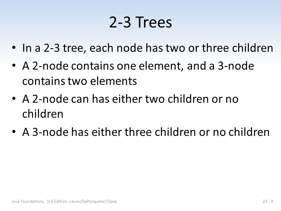 2-3 Trees Removing internal nodes 30, then 60: Java Foundations, 3rd Edition, Lewis/DePasquale/Chase23 - 15