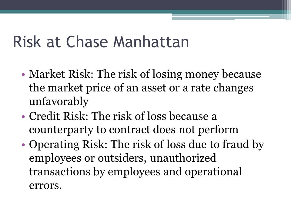 Risk at Chase Manhattan Market Risk: The risk of losing money because the market price of an asset or a rate changes unfavorably Credit Risk: The risk of loss because a counterparty to contract does not perform Operating Risk: The risk of loss due to fraud by employees or outsiders, unauthorized transactions by employees and operational errors.