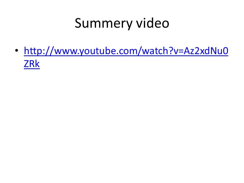 Summery video http://www.youtube.com/watch v=Az2xdNu0 ZRk http://www.youtube.com/watch v=Az2xdNu0 ZRk