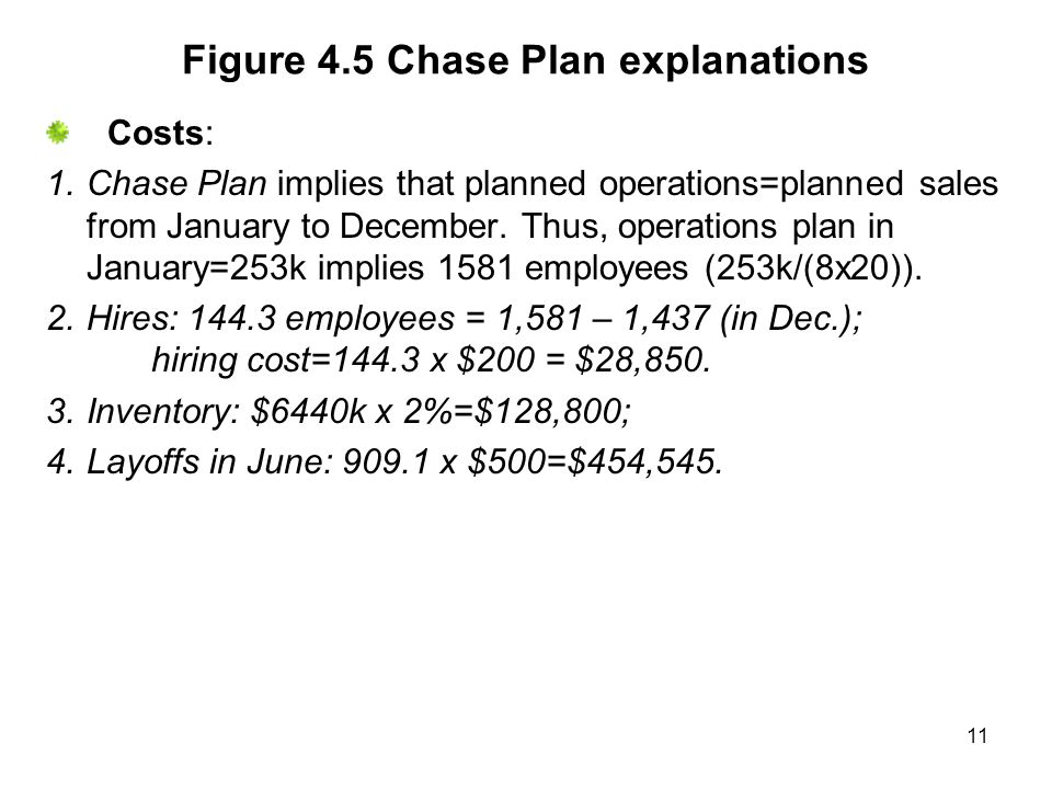 11 Figure 4.5 Chase Plan explanations Costs: 1.Chase Plan implies that planned operations=planned sales from January to December.
