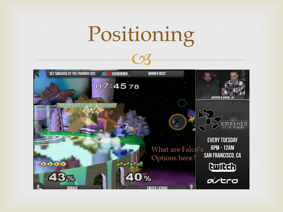  Positioning What are Falco's Options here