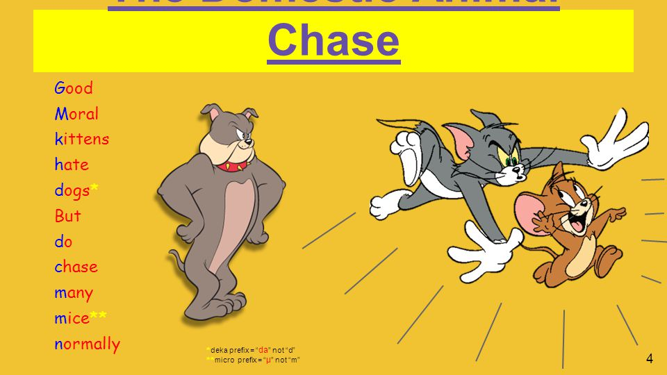 The Domestic Animal Chase Good Moral kittens hate dogs* But do chase many mice** normally * deka prefix = da not d ** micro prefix = μ not m 4