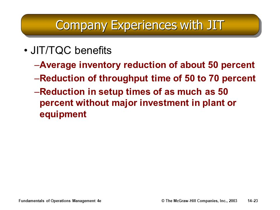 Fundamentals of Operations Management 4e© The McGraw-Hill Companies, Inc., 200314–23 Company Experiences with JIT JIT/TQC benefits –Average inventory reduction of about 50 percent –Reduction of throughput time of 50 to 70 percent –Reduction in setup times of as much as 50 percent without major investment in plant or equipment