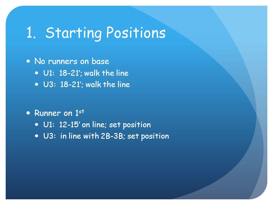1. Starting Positions No runners on base U1: 18-21'; walk the line U3: 18-21'; walk the line Runner on 1 st U1: 12-15' on line; set position U3: in li