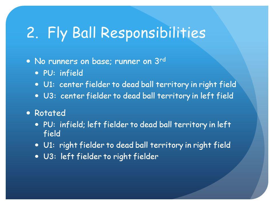 2. Fly Ball Responsibilities No runners on base; runner on 3 rd PU: infield U1: center fielder to dead ball territory in right field U3: center fielde