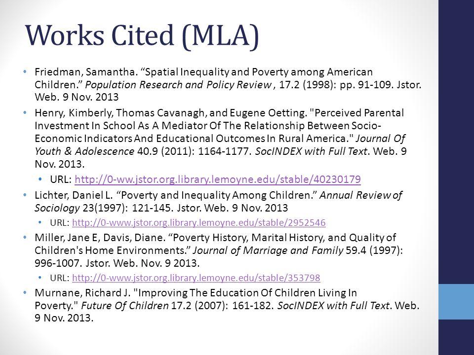 Works Cited (MLA) Friedman, Samantha.