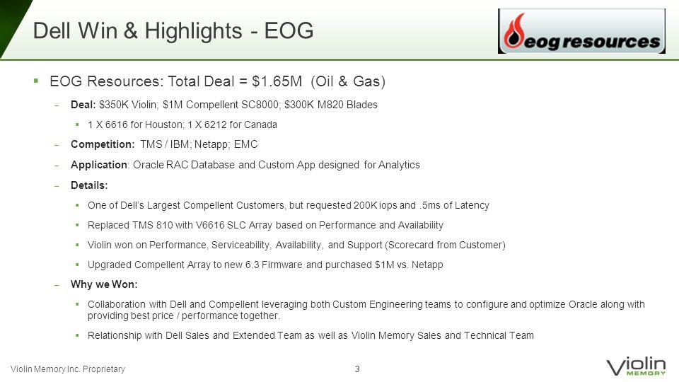 Violin Memory Inc. Proprietary 33 Dell Win & Highlights - EOG  EOG Resources: Total Deal = $1.65M (Oil & Gas) ‒ Deal: $350K Violin; $1M Compellent SC