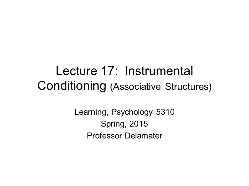 Lecture 17: Instrumental Conditioning (Associative Structures) Learning, Psychology 5310 Spring, 2015 Professor Delamater