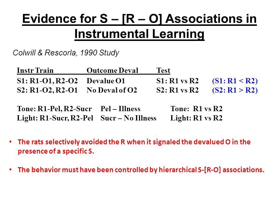 Evidence for S – [R – O] Associations in Instrumental Learning The rats selectively avoided the R when it signaled the devalued O in the presence of a specific S.