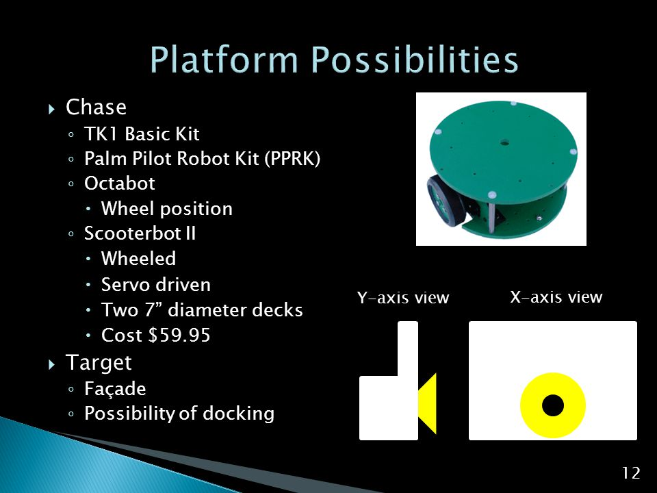 " Chase ◦ TK1 Basic Kit ◦ Palm Pilot Robot Kit (PPRK) ◦ Octabot  Wheel position ◦ Scooterbot II  Wheeled  Servo driven  Two 7"" diameter decks  Co"