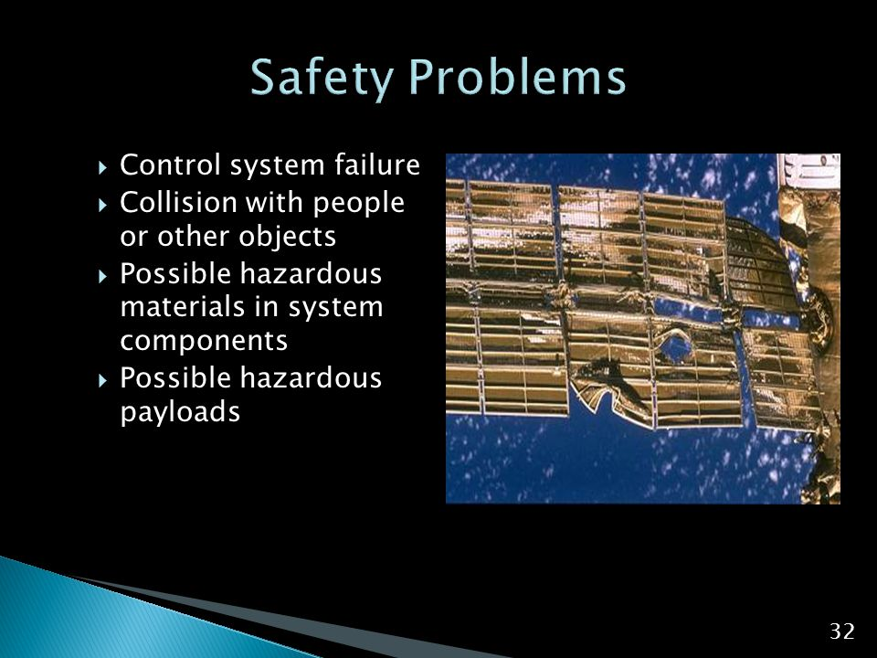  Control system failure  Collision with people or other objects  Possible hazardous materials in system components  Possible hazardous payloads 32