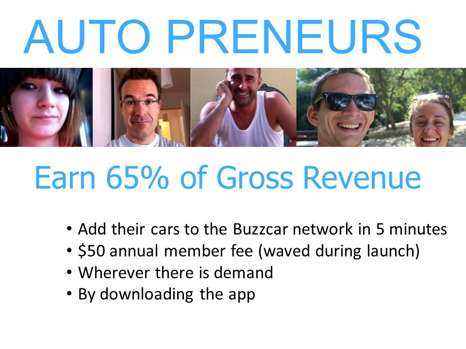 Add their cars to the Buzzcar network in 5 minutes $50 annual member fee (waved during launch) Wherever there is demand By downloading the app LES AUT