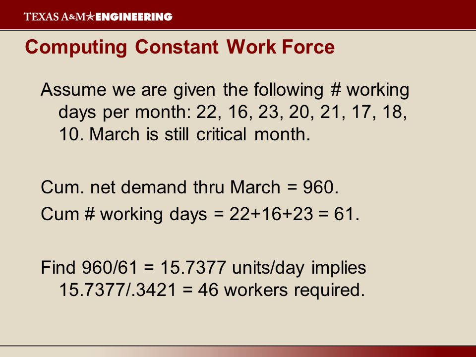 Computing Constant Work Force Assume we are given the following # working days per month: 22, 16, 23, 20, 21, 17, 18, 10.