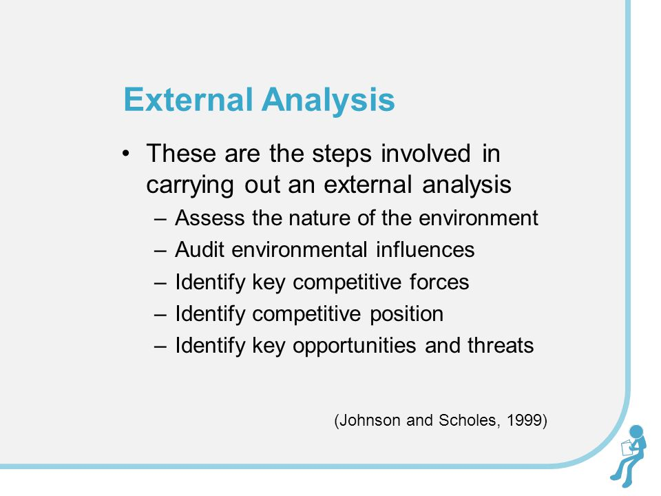 These are the steps involved in carrying out an external analysis –Assess the nature of the environment –Audit environmental influences –Identify key