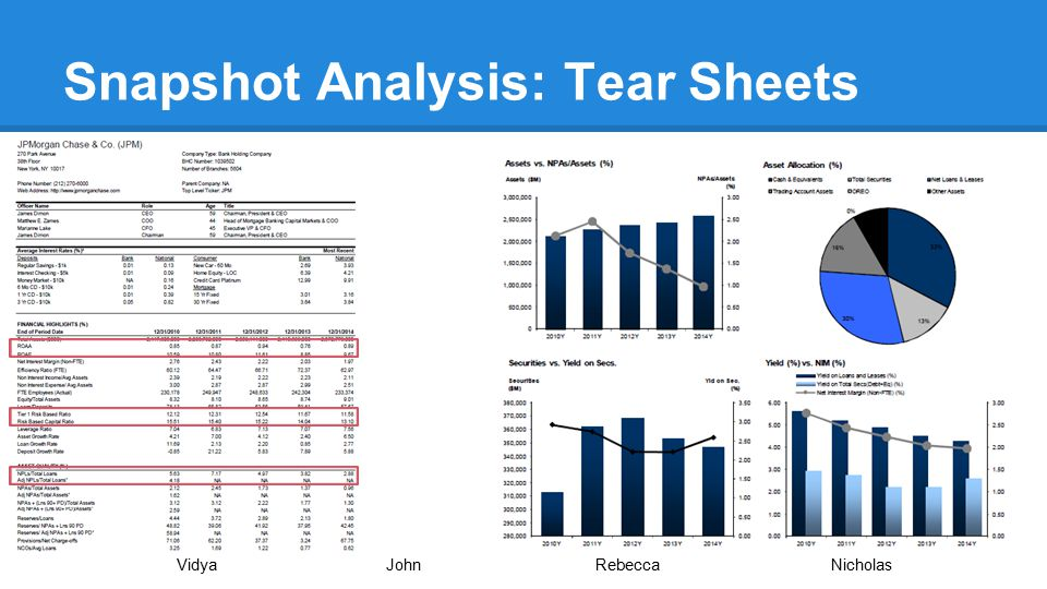 Snapshot Analysis: Tear Sheets VidyaJohnRebecca Nicholas