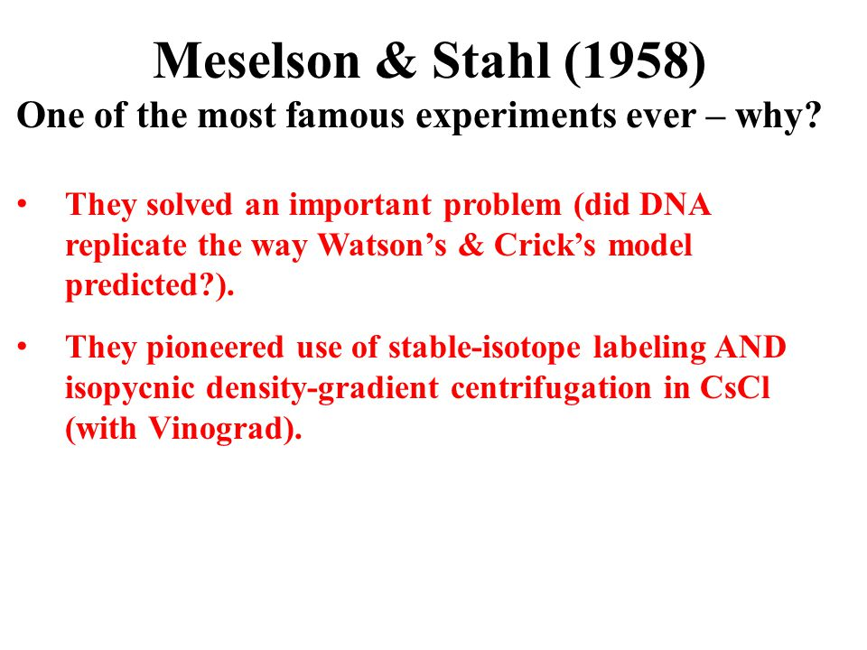 Meselson & Stahl (1958) One of the most famous experiments ever – why? They solved an important problem (did DNA replicate the way Watson's & Crick's