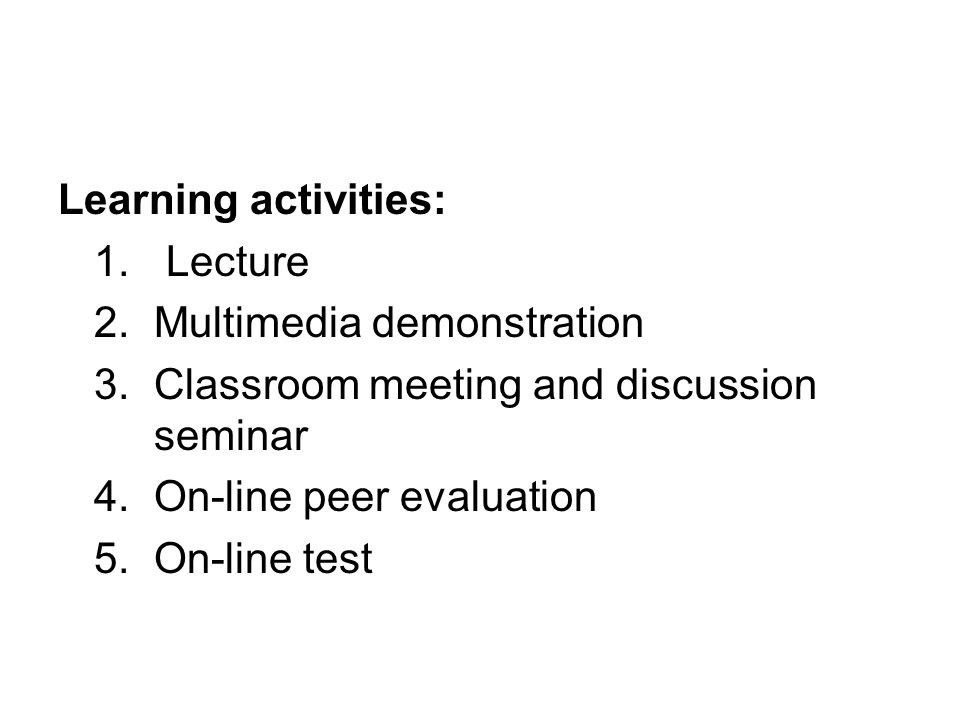 Learning activities: 1.