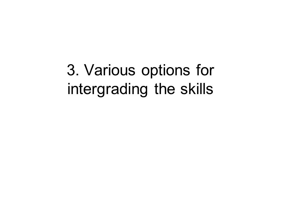 3. Various options for intergrading the skills