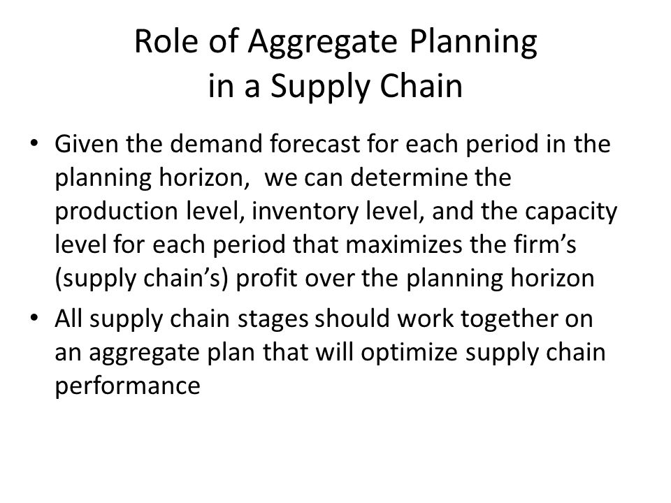 Given the demand forecast for each period in the planning horizon, we can determine the production level, inventory level, and the capacity level for