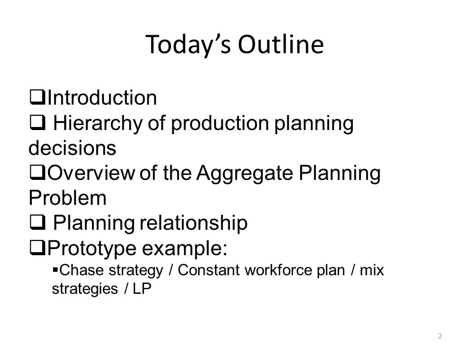 Today's Outline  Introduction  Hierarchy of production planning decisions  Overview of the Aggregate Planning Problem  Planning relationship  Pro