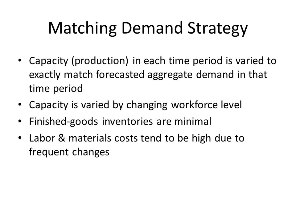Matching Demand Strategy Capacity (production) in each time period is varied to exactly match forecasted aggregate demand in that time period Capacity