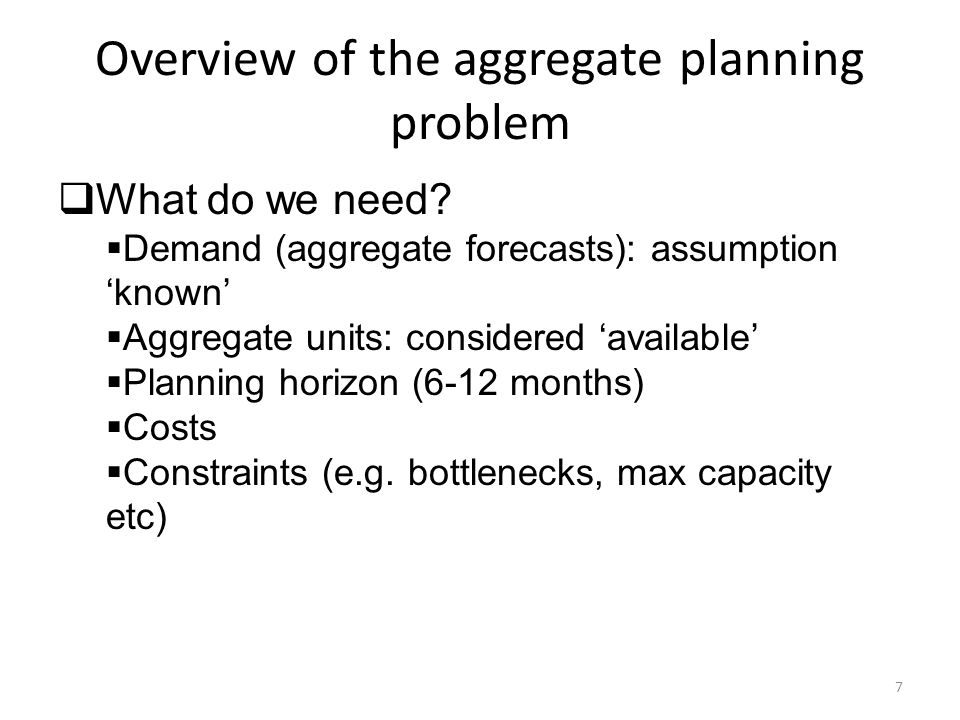 Aggregate Planning Costs  Regular-time Costs  Overtime Costs  Hiring and Layoff Costs  Inventory Holding Costs  Backorder and Stockout Costs