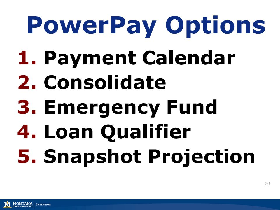 30 PowerPay Options 1. Payment Calendar 2. Consolidate 3. Emergency Fund 4. Loan Qualifier 5. Snapshot Projection