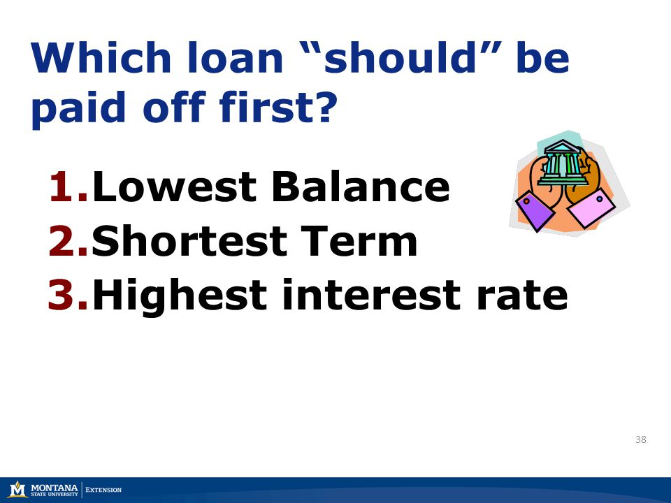 38 Which loan should be paid off first? 1.Lowest Balance 2.Shortest Term 3.Highest interest rate