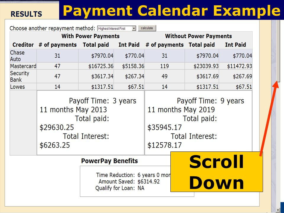 45 Payment Calendar Example Scroll Down